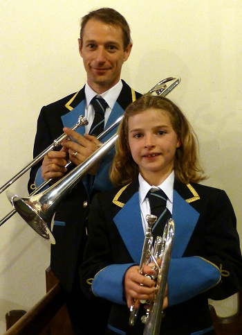 Tim Hampshire (tenor trombone) and Emma Hampshire (cornet)